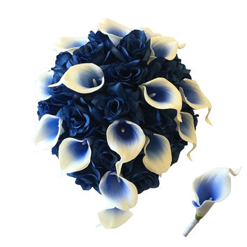 Elegant Cascade Bouquet-Royal blue artificial roses and real touch calla lily