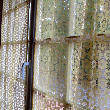 Yellow Lace Curtains, Lace French Door Curtains, Yellow Daisy Curtains, Up-cycled Lace
