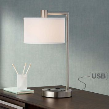 Colby Brushed Nickel Desk Lamp with Outlet and USB Port - #8N535 | Lamps Plus