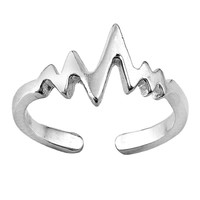 Sterling Silver Heartbeat Toe Ring/ Knuckle/ Mid-Finger 8MM