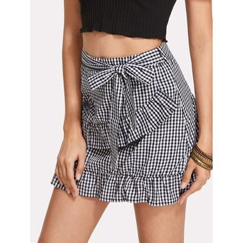 Ruffle Trim Gingham Skirt
