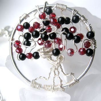 Wire wrapped twisted tree of life necklace black and red