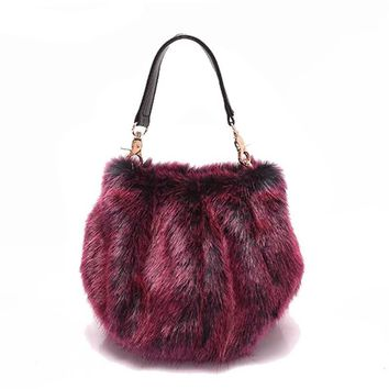 Faux Fur Women Handbags Bucket Plush Purse Winter Portable Fur Bag Fashion Female Cross Body Shoulder Bag