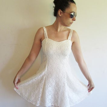 Vintage 90s White Lace Baby Doll Grunge Valley Girl Formal Wedding Mini Skater Dress