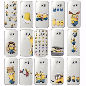 Cute Cartoon Cute Despicable Me Yellow Minions Soft Clear Phone Case Cover Fundas Coque For SAMSUNG Galaxy S5 S6 S7 Edge J5 2015