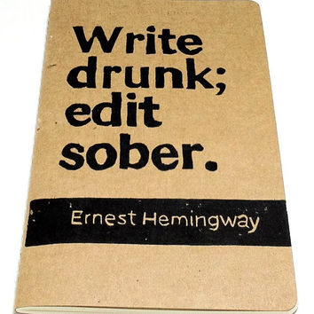 JOURNAL with Ernest Hemingway Quote Cover Art by WordsIGiveBy