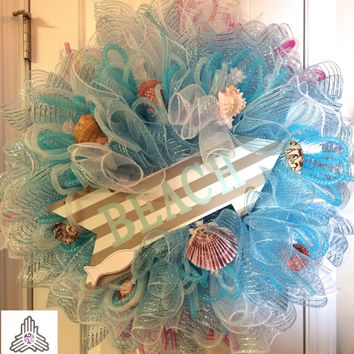 This Way To The Beach Summer Ruffle Deco Mesh Wreath