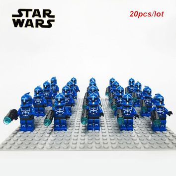 Star Wars Force Episode 1 2 3 4 5 20PCS/LOT Senate Commando Captain Army sw613 Minifig  with 3 s compatible legoe 75088 kid block toys Brand New AT_72_6