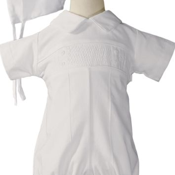 Pin Tucked & Smocked 100% Cotton Handmade Christening Romper Outfit (Baby Boys 0 - 12 months)