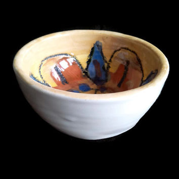 Small ceramic bowl -Pottery decorative bowl- Flower homemade ceramic bowl- Cereal, breakfast bowl. White with blue and red paintings.