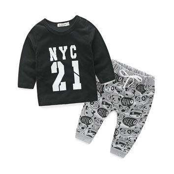 Trendy Graphic Long Sleeve Tee + Stylish Pants Casual Outfit for Infant Boys\Girls