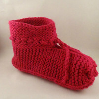 Hot Pink Slippers, Boot slippers, handmade slippers, handknit slippers Ready to ship