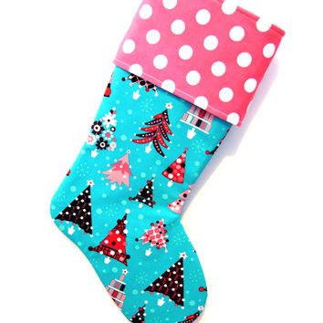 Christmas Tree Stocking, Holiday Stocking, Pink Stocking, Teal Stocking, Festive Stocking, Modern Stocking