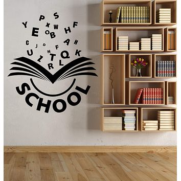 Vinyl Wall Decal Open Book Alphabet Letters Word School Logo Learning Stickers Unique Gift (2057ig)