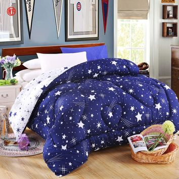 Lucky textile quilt star winter comforter blue and white warm soft cotton polyester patchwork full queen king size home bedding