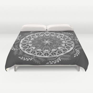 Boho Duvet Cover, black bedroom decor, mandala bedding, bohemian duvet cover, Bedding, Home Interior Decoration