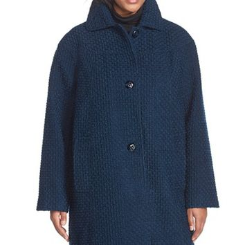 Plus Size Women's Gallery Long Basket Weave Coat,