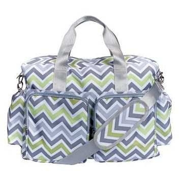 Green, Gray and White Chevron Deluxe Duffle Diaper Bag