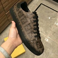 FENDI Fashion Men Casual Leather Low Top Shoes Coffee