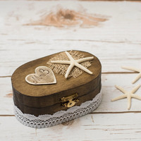 Beach Wedding Ring Box Bearer Starfish Personalized Ring Holder Nautical Wedding Ring Pillow Rustic Wooden Box