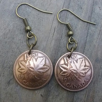 1966 coin earrings. Canadian cent coin earrings. Penny earrings. Dangle earrings.49th birthday. 49th anniversary.