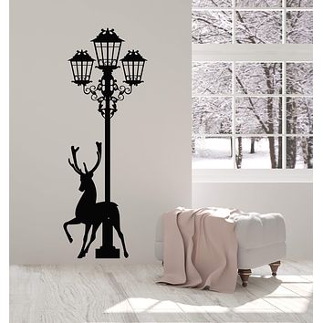 Vinyl Wall Decal Deer Silhouette Forest Animal Streetlight Stickers (2845ig)