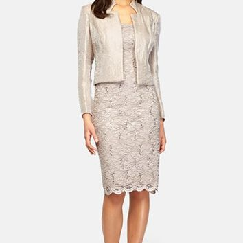 Women's Alex Evenings Sequin Lace Sheath Dress & Taffeta Jacket,