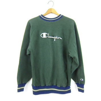 90s Champion Sweatshirt Green Sports Sweatshirt Big Logo emblem Ringer Neck Slouchy Boyfriend Grunge Sporty Sweater Pullover Size Medium