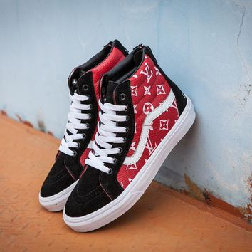 Best Deal Online Vans x Supreme x Lv SK8-Hi Red High Top Men Flats Shoes Canvas Sneakers Women Sport Shoes