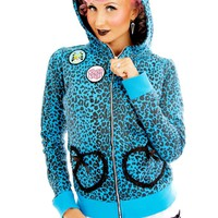 Blue Leopard Hoodie with Cat Ears