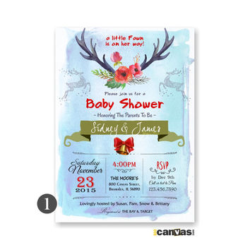 Deer Baby Shower Invitation, It's a Girl Baby Shower Invite, Christmas Baby Shower Invites, Holiday Baby Shower, Watercolor Roses Invite 122
