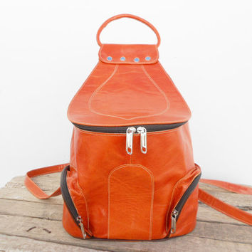 SALE - Caramel Natural Leather Backpack, Satchel bag Handmade Soft Leather School College Travel Picnic Weekend bag