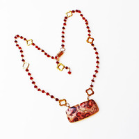 Pendant Necklace, Patterned Agate Pendant, Faceted Ruby Beads, Wire Wrap Necklace, Gold Stations, Colors of Red
