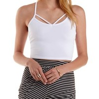 White Strappy Macrame-Back Crop Top by Charlotte Russe
