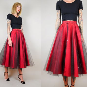 vtg 50's Full CIRCLE SKIRT Tulle RHINESTONE Jewel Formal Prom Bombshell Party Sheer xs