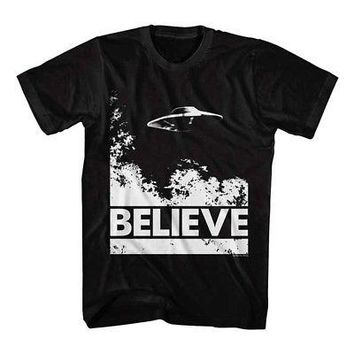 X-Files UFO Believe Official Licensed Adult Unisex Short Sleeve T-Shirt - Black