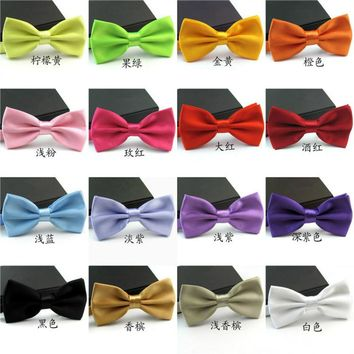 Fashion Bow Tie For Groom Men Black Blue Red Purple Solid Color Bowtie Wedding Adjustable Candy Cravat Gravata 12.5*6.5cm