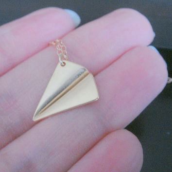 Gold Matte Personalized Paper Plane Necklace  Bridal Bridesmaids Birthday Christmas Gift  Airplane Necklace Origami Necklace