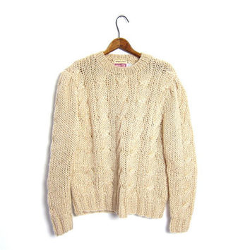 Chunky Knit Fisherman Sweater 70s Beige Cream 80s Thick Loose Knit Cable Knit 1970s Jumper Sweater Off White Vintage Womens Large
