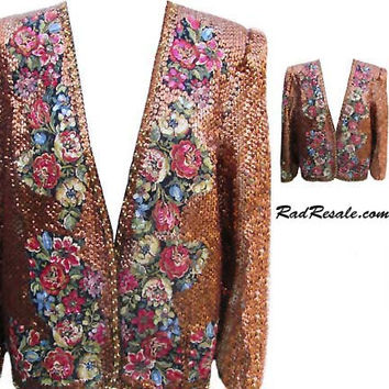 Gold Sequin Jacket with Fabric Inserts in Floral Print - Fits Size Large