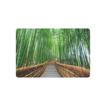 Autumn Fall welcome door mat doormat Tree Anti-slip  Home Decor, Path to Bamboo Forest Japan Japanese Indoor Outdoor Entrance  Rubber AT_76_7