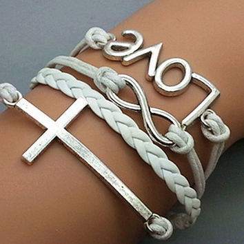 Silver Cross& Love And Infinity Wish Bracelet White Wax Cords White Braided Leather  Vintage Style Bracelet Cute Personalized Jewelry 0385P