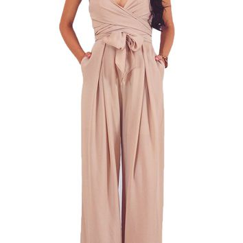 Apricot Wrap and Tie Criss Cross Straps Open Back Jumpsuit