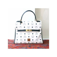 MCM Bag Visetos White Navy Germany Vintage Authentic Tote Kelly Handbag Purse