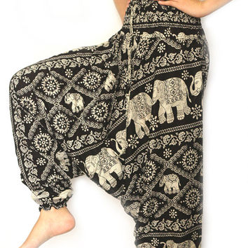 Black Thai fisherman pants palazzo pants boho pants harem pants/elephant pants/yoga pants/pyjamas/hippie clothes/bohemian pants/baggy pants