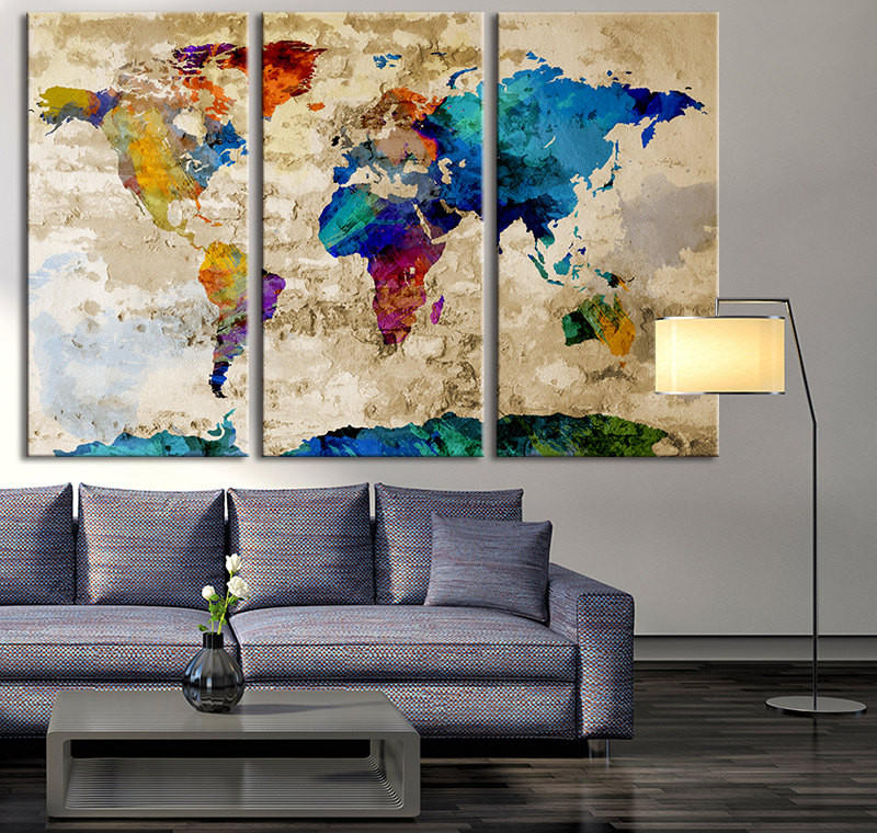 large world map canvas - Yelom.myphonecompany.co
