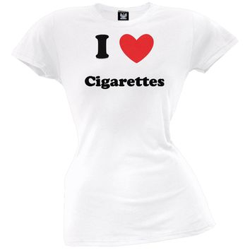 I Heart Cigarettes Juniors T-Shirt
