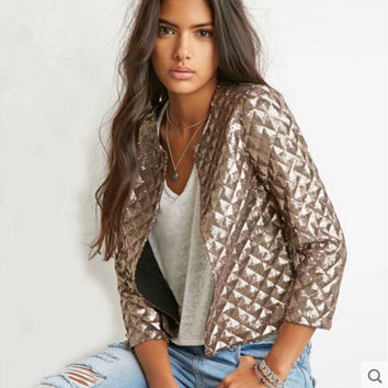 Sequined Jacket Slim Sleeve Jacket