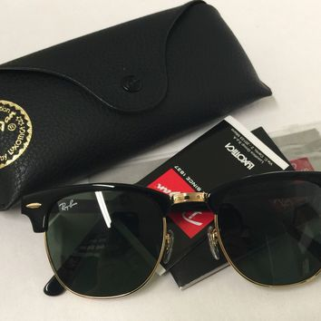 Ray Ban Clubmaster RB3016 W0365 Black Gold Frame G-15 Lens Sunglasses 51mm