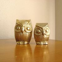 Vintage Brass Owl Figurines, Gold Owl Statues